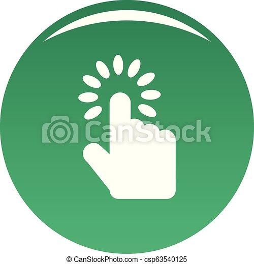 Hand cursor icon vector green - csp63540125