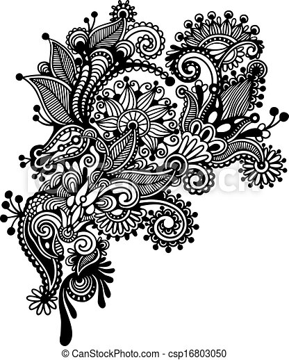 Hand draw black and white line art ornate flower design ukrainian traditional style csp16803050