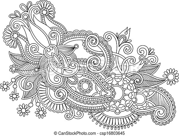 Hand Draw Black And White Line Art Ornate Flower Design. Ukrainian  Traditional Style   Csp16803645