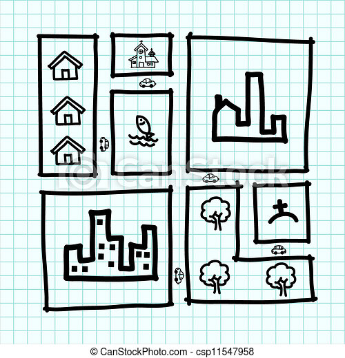 Hand draw city map ,zoning .Illustration - csp11547958