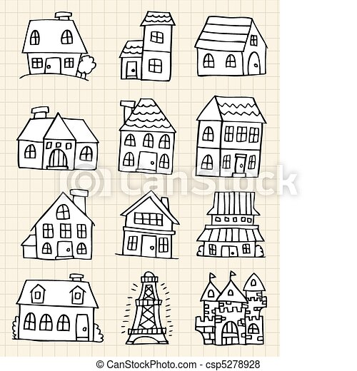 hand draw cute house csp5278928 - Free House Drawing