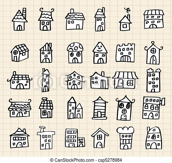 Hand draw cute house hand draw cute house for How to draw a cute house