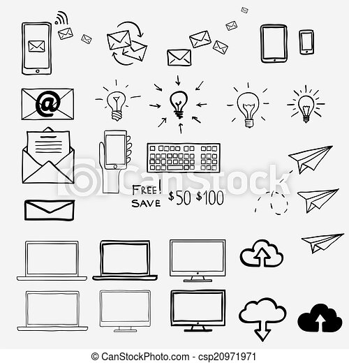 Hand Draw Doodle Icons Concept Internet Work Office Shopping