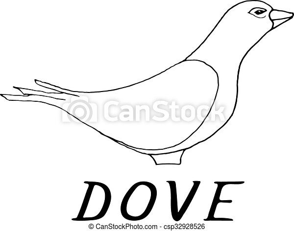 hand draw dove style sketch csp32928526