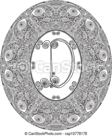 Hand draw font. Letter D. Vector illustration - csp10778178