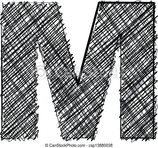 Hand draw font. LETTER M - csp13880038