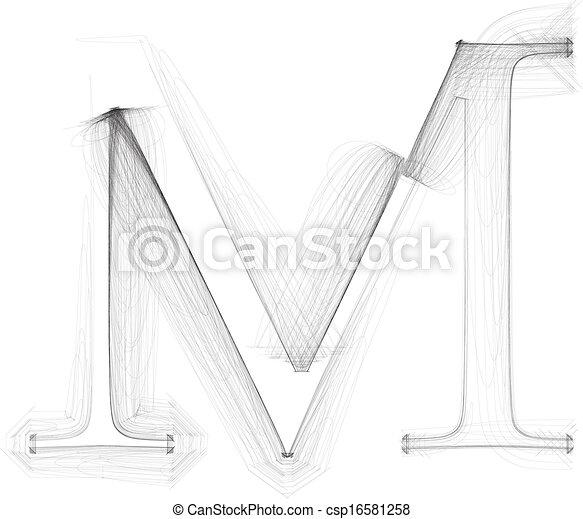 Hand draw font. LETTER M. Vector illustration - csp16581258