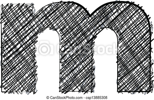 Hand draw font. LETTER m - csp13885308
