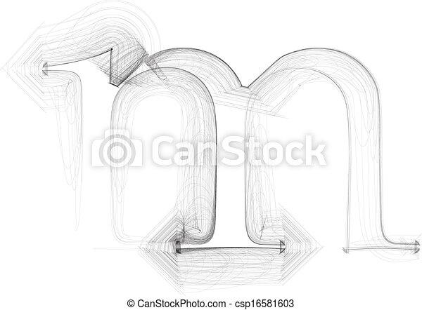 Hand draw font. LETTER m. Vector illustration - csp16581603