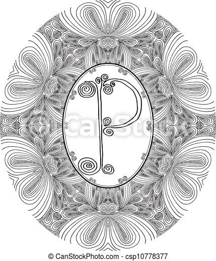 Hand draw font. Letter P. Vector illustration - csp10778377