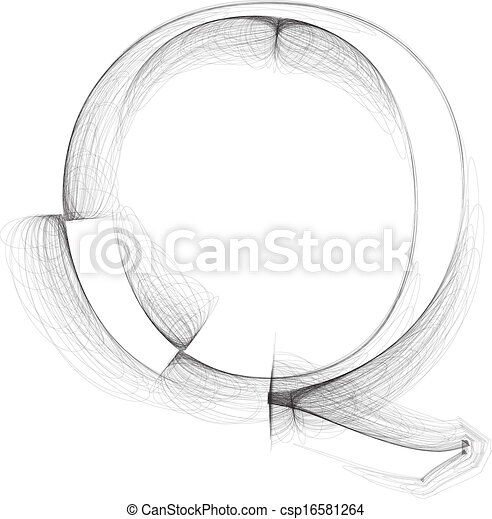 Hand draw font. LETTER Q. Vector illustration - csp16581264