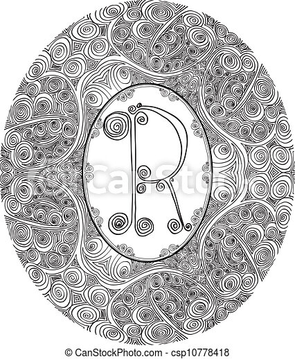 Hand draw font. Letter R. Vector illustration - csp10778418