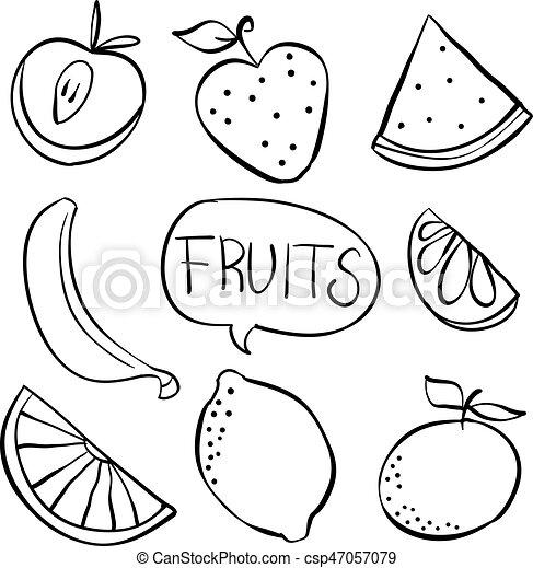 Hand draw fruit various doodles vector art - Dessiner un fruit ...