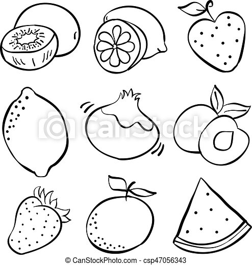 Hand Draw Fruits Of Doodles Vector Illustration