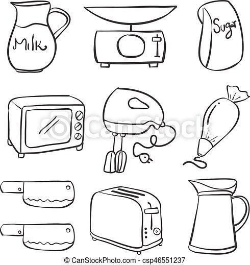 Hand Draw Kitchen Equipment Doodles Vector Illustration