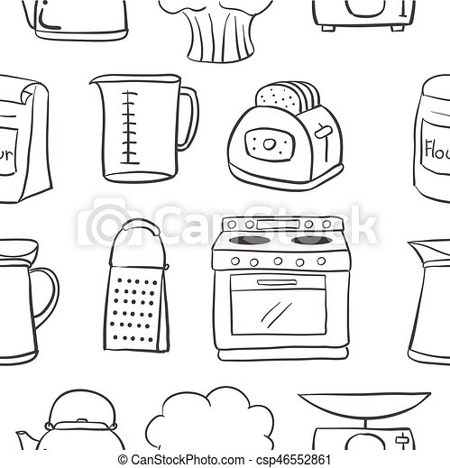 Hand Draw Kitchen Object Doodle Style Vector Illustration