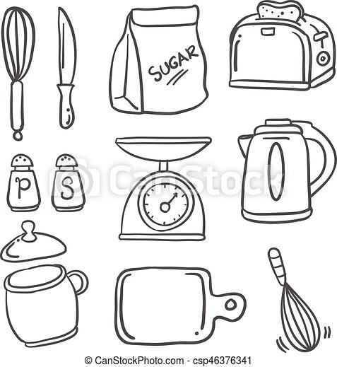 Hand Draw Kitchen Set Doodles Vector Illustration