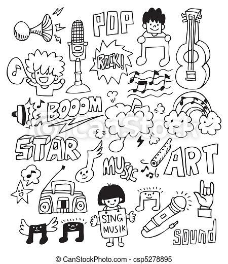 Hand Draw Music Element Hand Draw Music Element