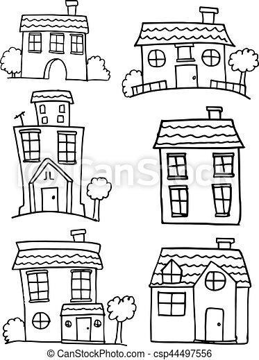 Hand draw of house set collection - csp44497556