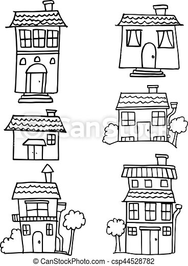 Hand draw of house set style - csp44528782