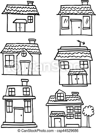 Hand draw of house set various - csp44529686
