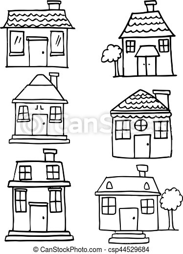 Hand draw of house various set - csp44529684