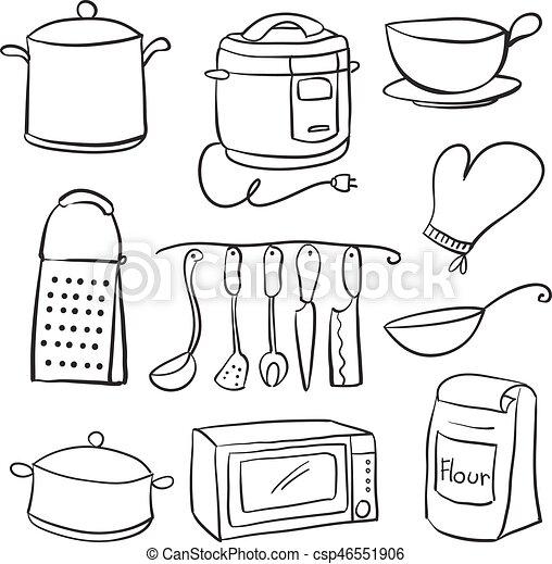 Hand Draw Of Kitchen Equipment Doodles Vector Illustration