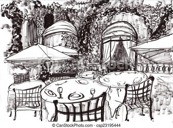 hand draw paris coffee shop on paper