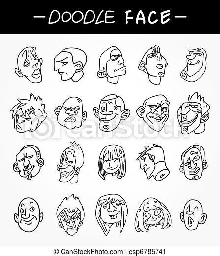 hand draw people face icons set - csp6785741