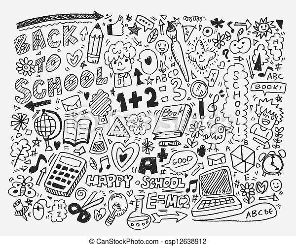 Hand Draw School Element Cartoon Vector Illustration