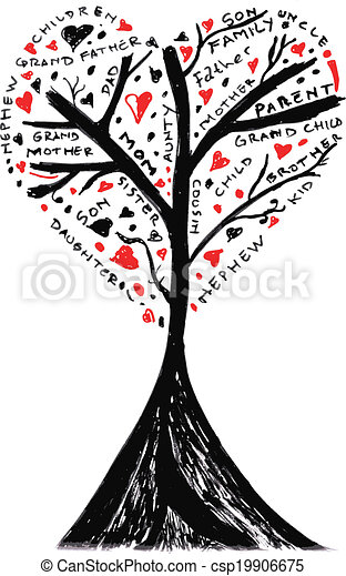 hand draw sketch of family tree csp19906675