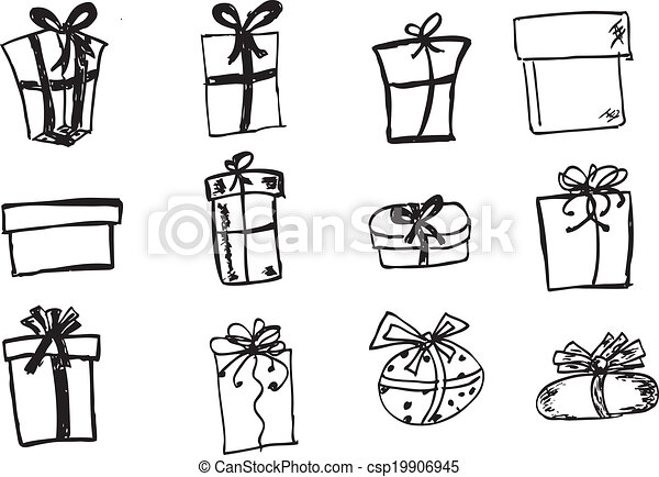 Various Shape Hand Draw Sketch Set Of Gift Box