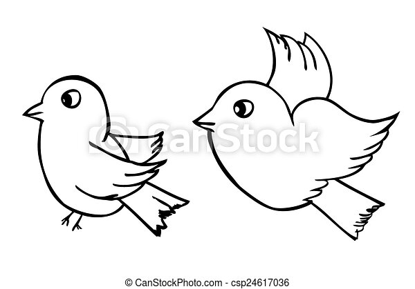 Vector Hand Draw Sketch Two Outline Birds Isolated On... Vectors - Search Clip Art ...