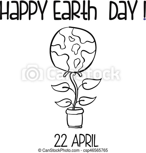 Hand Draw Style Earth Day With Flower