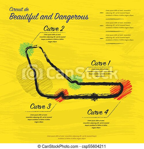 Hand Draw Yellow Race Track Map Grunge Yellow Background With Hand