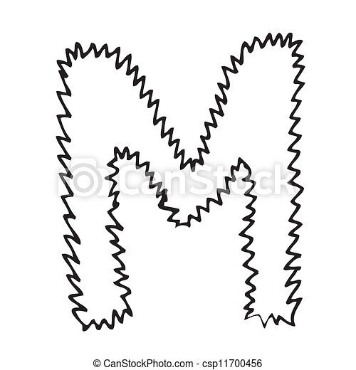 Hand Drawing Alphabet Letter M In Vector Design
