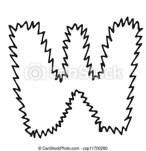 Hand Drawing Alphabet Letter W In Vector Design
