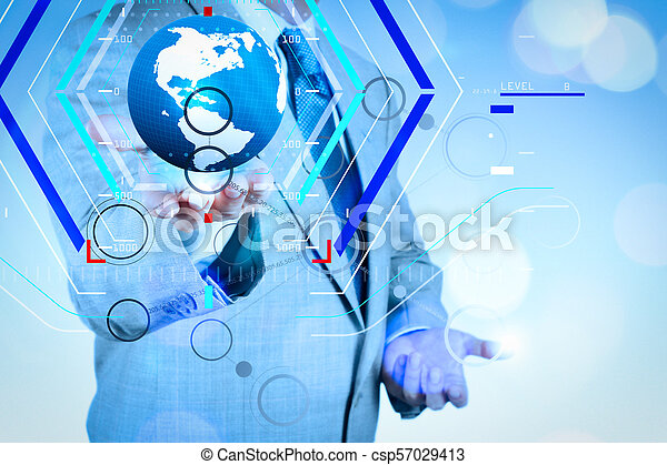 hand drawing blank flow chart on new picture_csp57029413 concept of focus on target with digital diagram businessman hand