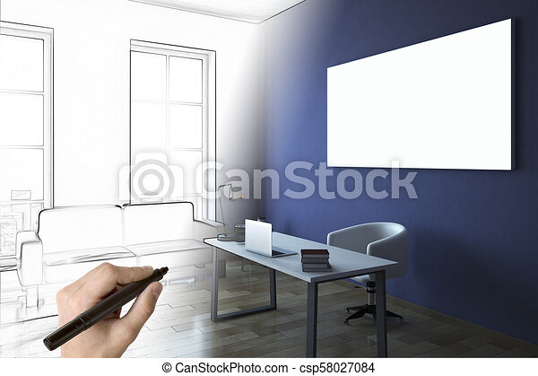 Hand Drawing Blue Office Interior