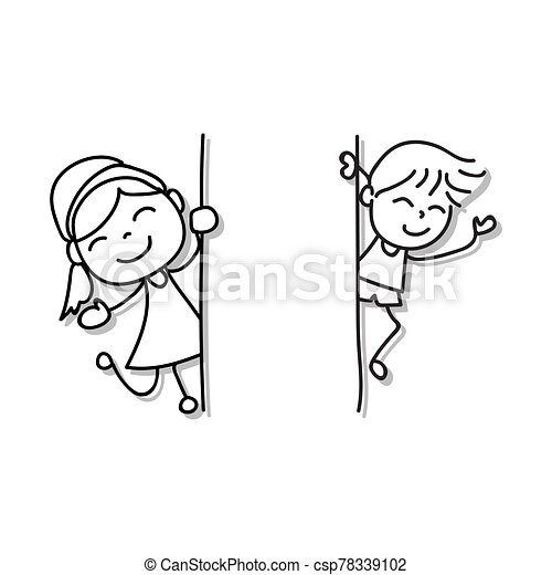 Hand Drawing Cartoon Character Happy Boy And Girl Appearing From The Blank Wall Abstract People Happiness Concept Vector Canstock