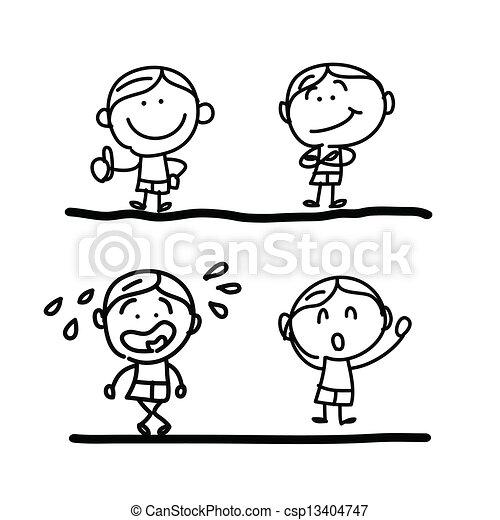 hand drawing cartoon emotion - csp13404747