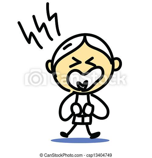 hand drawing cartoon emotion - csp13404749