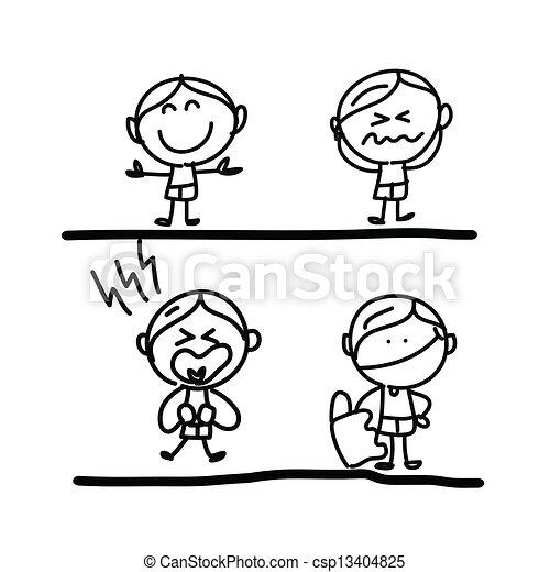 hand drawing cartoon emotion - csp13404825