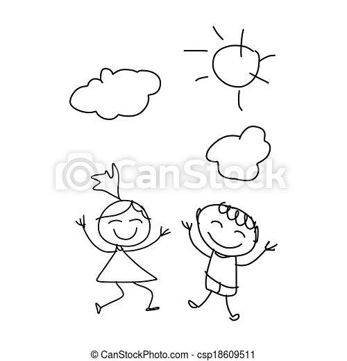 Hand Drawing Cartoon Happiness Hand Drawing Cartoon Character