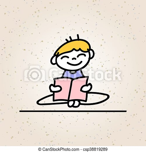 hand drawing cartoon happy boy reading and smile with happiness concept character - csp38819289