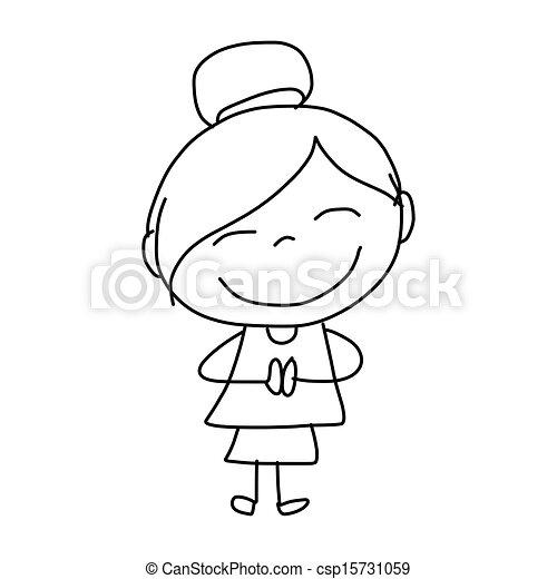 vector hand drawing cartoon happy kids