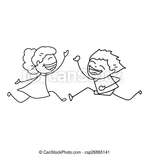 hand drawing cartoon happy people hand drawing cartoon concept