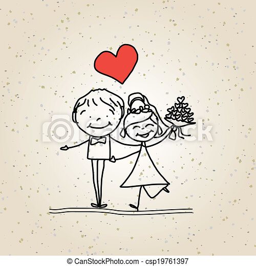 Hand Drawing Cartoon Happy Wedding Hand Drawing Cartoon Happy Couple Wedding