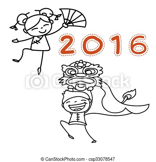 hand drawing chinese new year cartoon character happy people eps