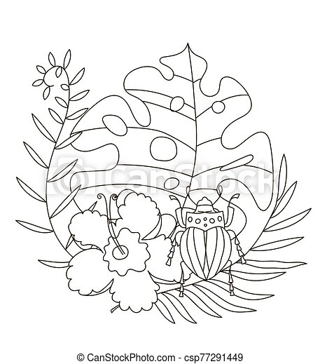 Hand Drawing Coloring Pages For Children And Adults. A Beautiful  Illustration For Creative Coloring With Paints And Pencils. CanStock